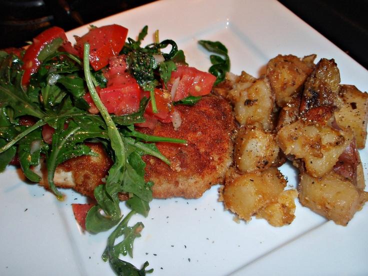 Chicken Milanese with Arugula Salad,Pan Roasted Garlic Thyme Redskins