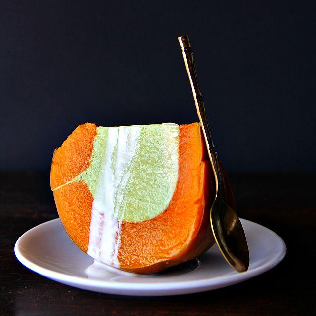 (thai steamed kaya pumpkin) coconut milk and pandan custard steamed ...