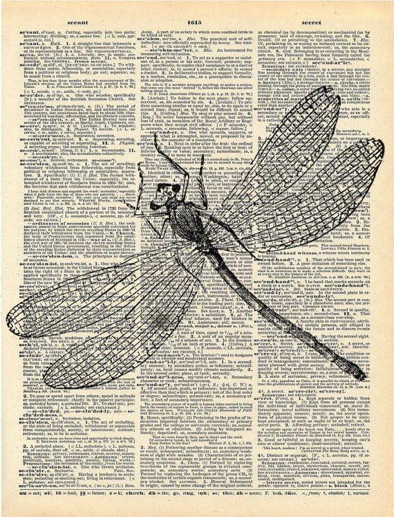 Antique Book Print - Dragonfly Insect Art Print - Art Nouveau Book Art Print… 2ffc7cd59eafe8083bd8f925b3afe4da