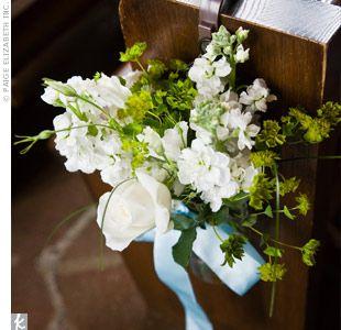 Church Pew Flowers Wedding Flowers Pinterest