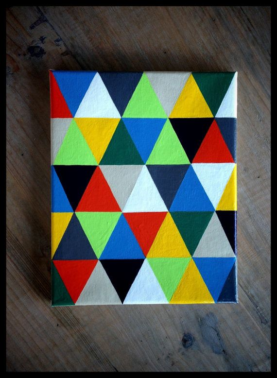 Colorful geometric painting 8 x 10 acrylic on canvas for Geometric paint designs