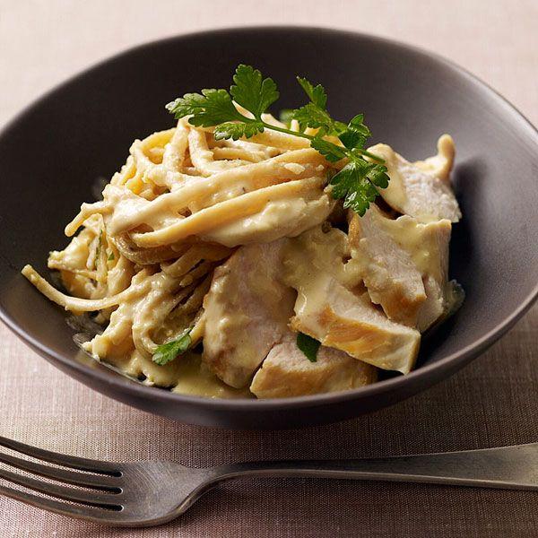 This delicious chicken fettuccini alfredo dish slashes the PointsPlus ...