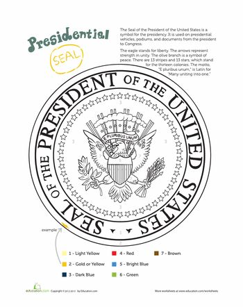 Presidential Seal Presidential Seal Coloring Page