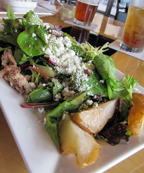 Salad with mixed greens, roasted pears, candied walnuts, Gorgonzola ...