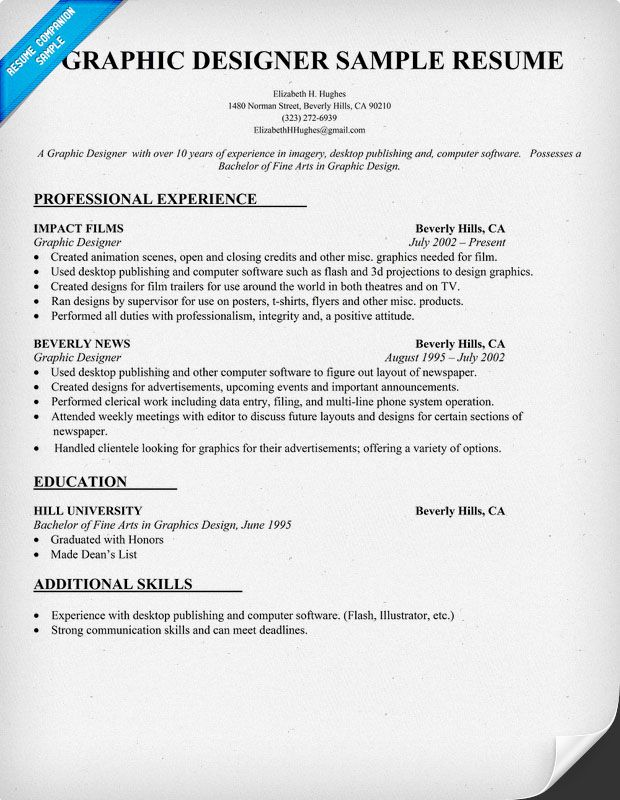 Sample Graphic Designer Resume Template | Sainde.Org