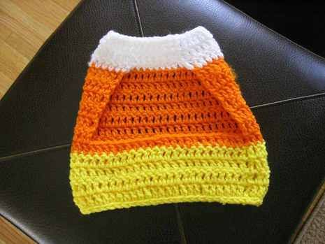 Free Crochet Patterns For Dog Halloween Costumes : Crochet a Candy Corn Pet Sweater! crocheting Pinterest