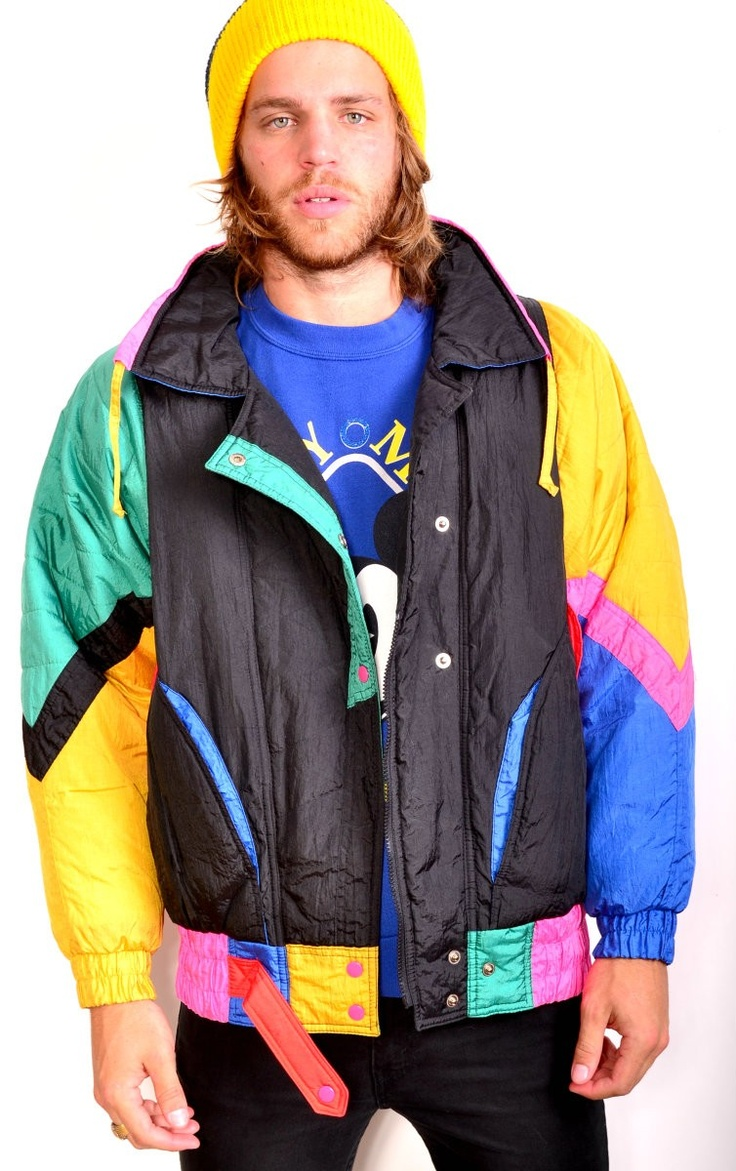 VINTAGE GIACCA NEON COLORBLOCK PUFFY SKI JACKET  MED $79