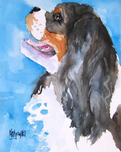 Cavalier King Charles Spaniel Art Print of Original Watercolor Painting - 8x10. $12.50, via Etsy.