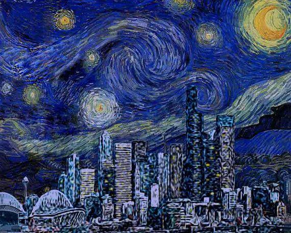 8x10 original art print seattle starry night by honeybeealley 26 00