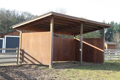 Simple pole barn run in shed horse stuff pinterest Horse run in shed plans design