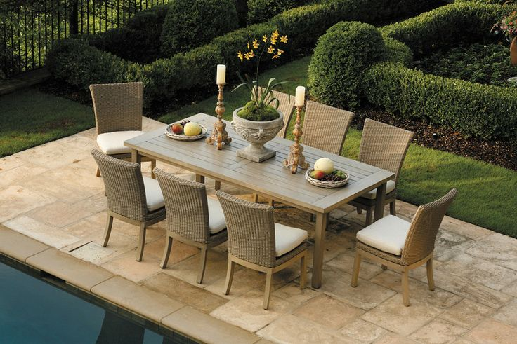 Summer Classics A Club Rectangular Aluminum Dining Table In Weathered Finish Paired With