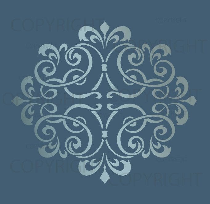 LARGE WALL DAMASK STENCIL PATTERN FAUX MURAL DECOR 1012