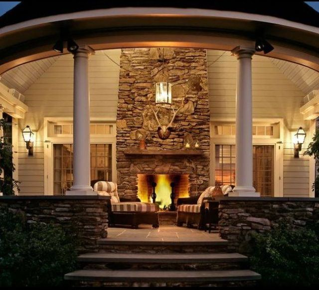 awesome back porch with fireplace for my dream home