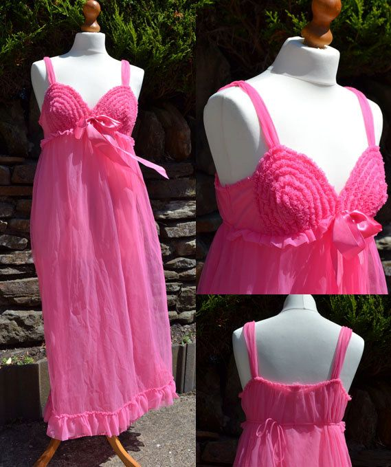 1950s Vintage Lingerie Hot Pink Slip/Nightie