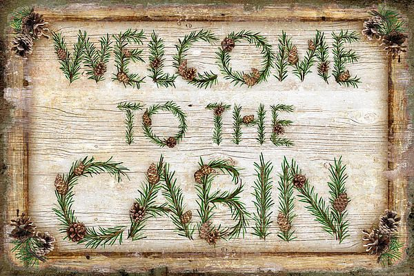 wood cabin sign