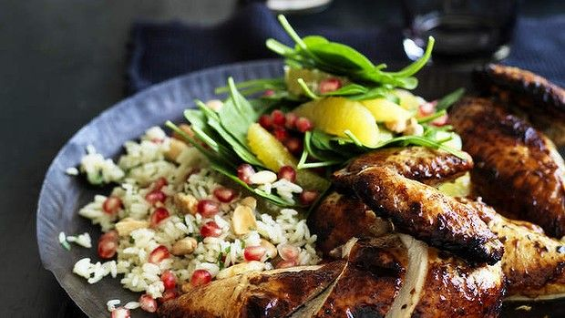 Spice up the midweek menu: Pomegranate glazed chicken with herb pilaf.