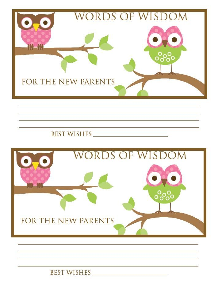 laura whittaker 39 s baby shower words of wisdom cards