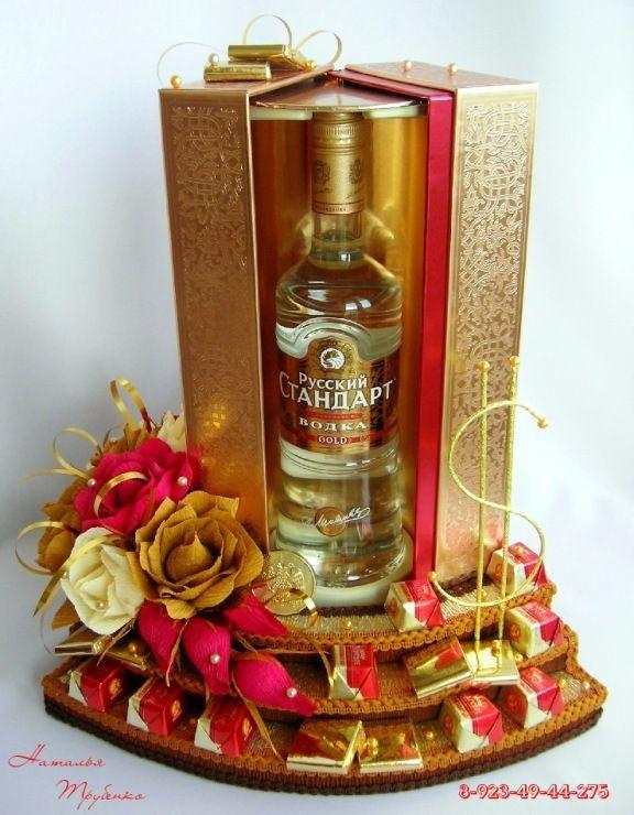 Подарок своими руками из конфет и бутылки коньяка 48