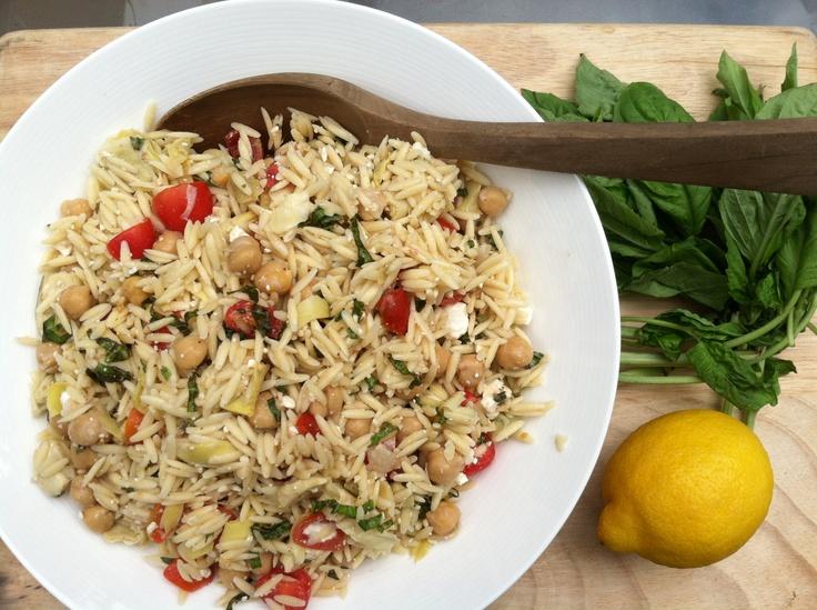 Orzo Salad With Artichokes, Tomatoes, Chickpeas, Feta & Lemon Basil ...