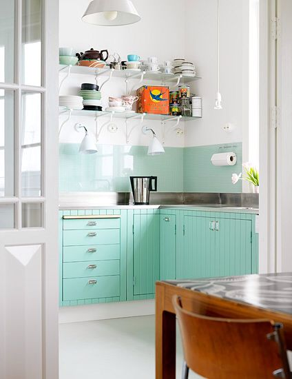 Kitchen  Turquoise Cabinets  Retro  home is where the heart is