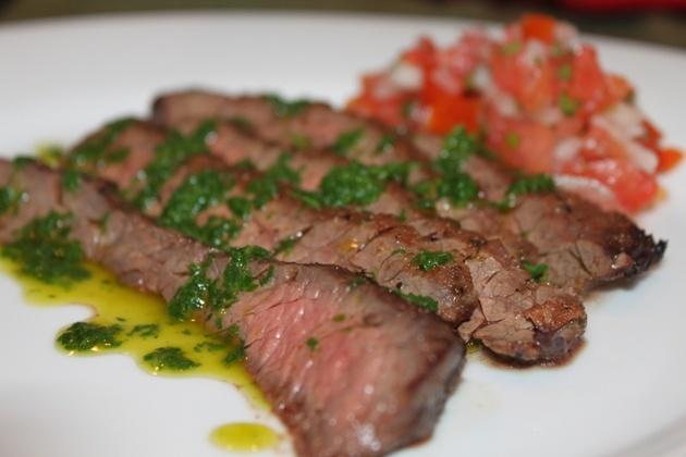 ... Kitchen: Skirt Steak with Spinach Cilantro Oil and Pico De Gallo