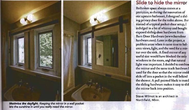 Bathroom Mirror Slides Over Window Dream Home Pinterest