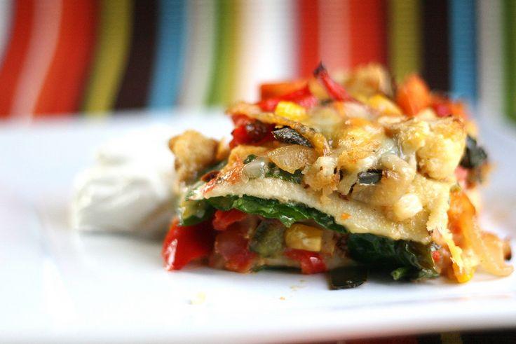stacked roasted vegetable enchiladas | Vegetarian | Pinterest