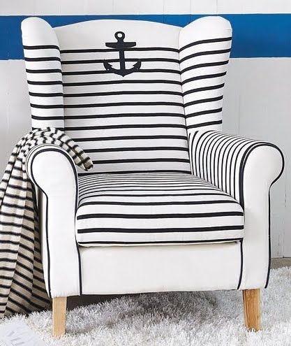 nautical chair with stripes and anchor