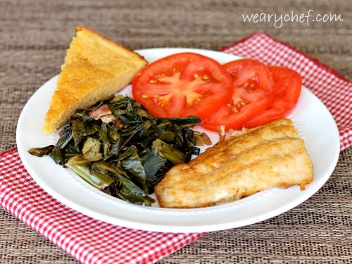 Pan Fried Catfish with Southern Cornbread and Greens: A complete ...