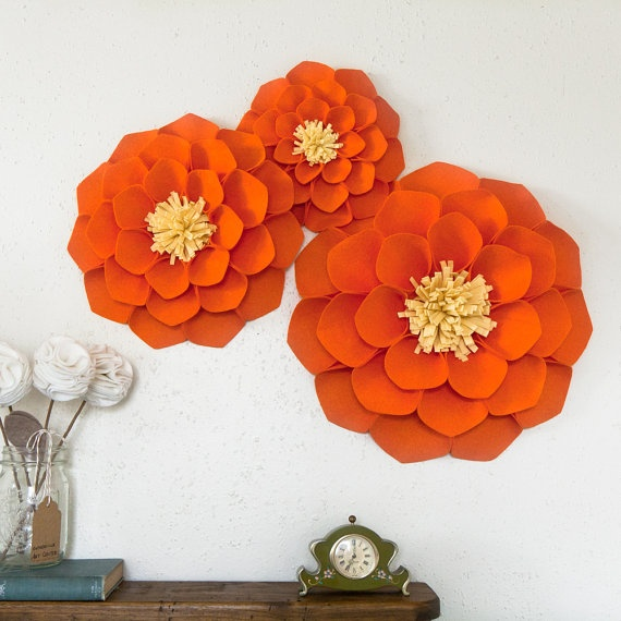 Orange & Yellow felt Wall Flowers