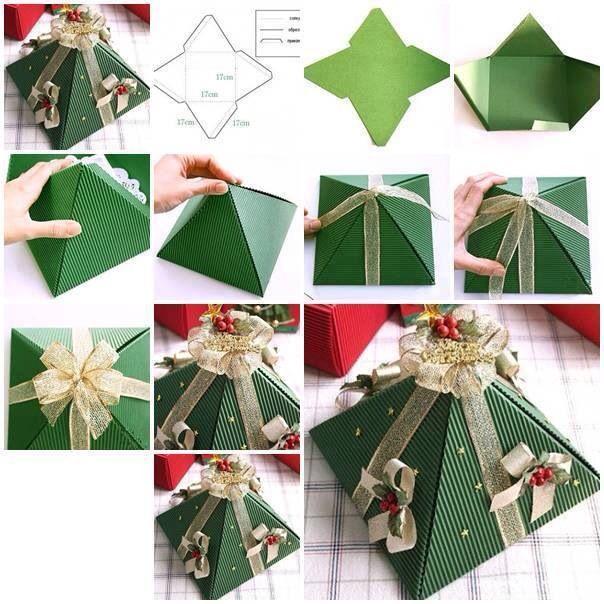 Diy Christmas Favor Boxes : Diy christmas tree gift box