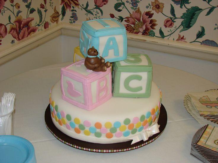 Baby block baby shower cake.