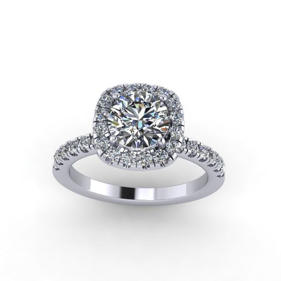 Diamond engagement ring ,moissanite center. style 26WDM