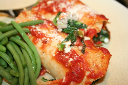 Turkey and Spinach Manicotti w/ homemade whole wheat pasta