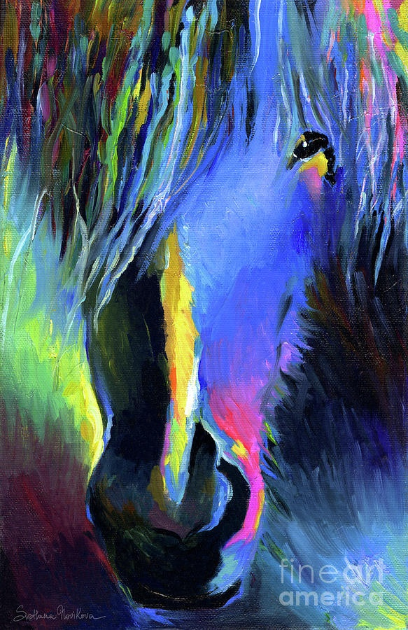electric Stallion horse painting