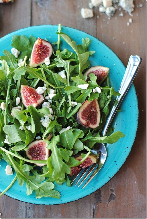 arugula fig amp blue cheese salad with some pastrami this would be an ...