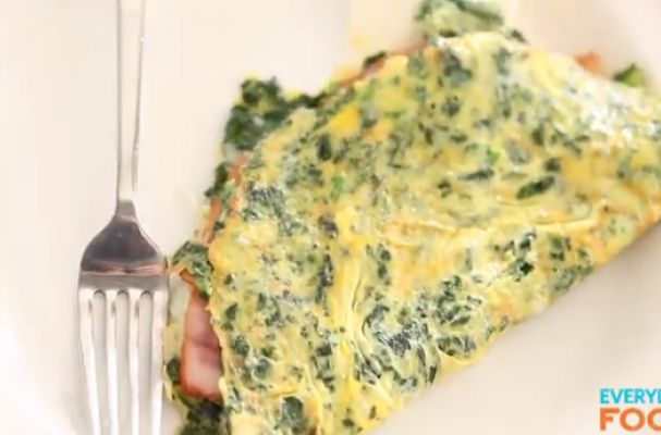 Green eggs and ham omelet | his omelet is studded with chopped spinach ...