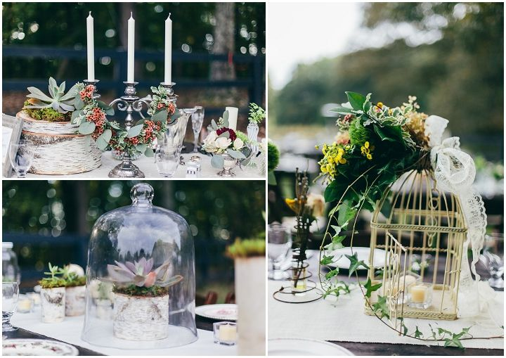 Eclectic wedding reception inspired by nature and art deco for Art deco wedding decoration ideas