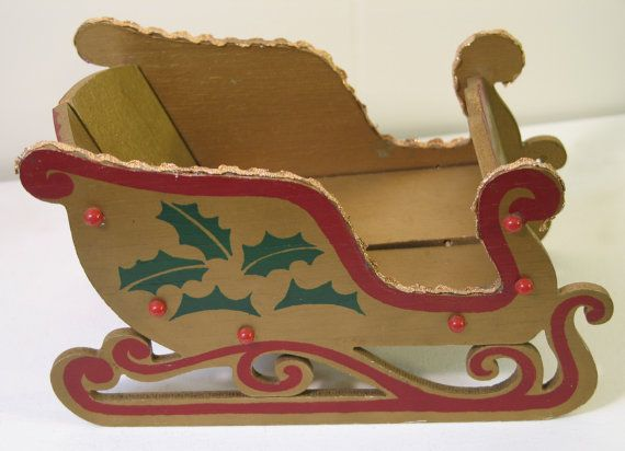Vintage Christmas Holiday Folding Sleigh Wooden