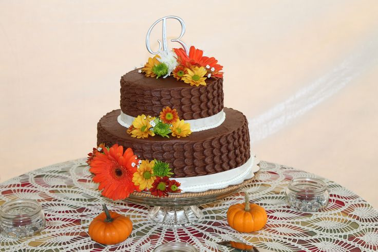 Fall wedding cake- Yellow cake with chocolate fudge filling and ...