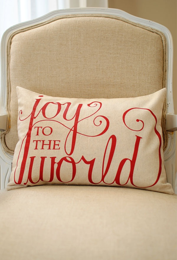 Joy to the World 12x16 Pillow Cover in Red    $24.95