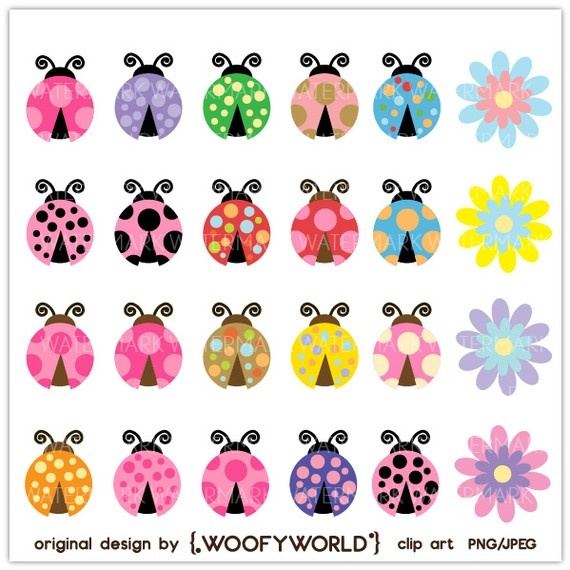 Lady bug cheerful personal and commercial use digital clip art 4 71 cad party ideas