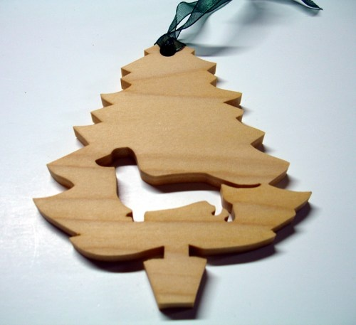 Dachshund Christmas Tree Ornament Handmade From Poplar Wood