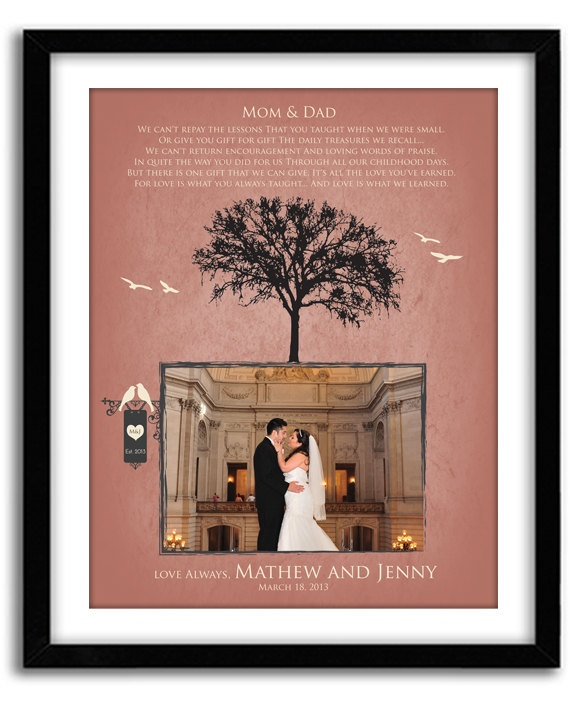 Wedding Gift Ideas For Bride And Groom From Parents : Wedding Gift for Parents of Bride and Groom by GoodNightOwlDesigns, USD ...
