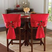 Red Holiday Bow Dining Chair Back Covers Christmas