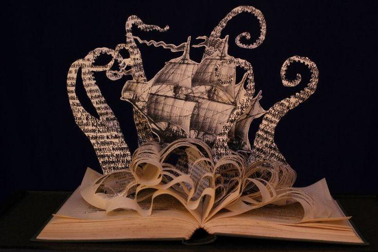 days fall like leaves: The Kraken altered book sculpture