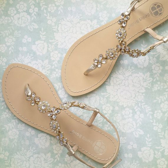 Something BLUE SOLE Flower Jewel Crystal Gold Bridal Thong Sandals Sh