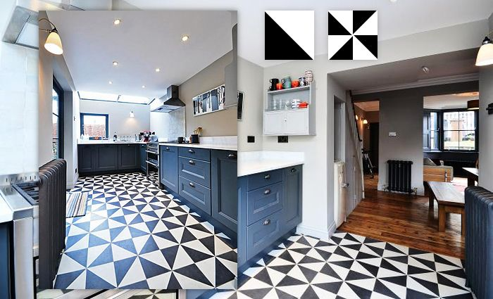 Cementtegels Keuken : White Black Cement Tiles
