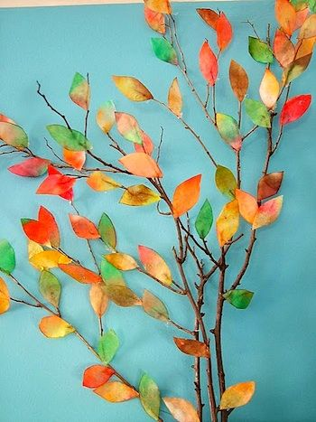 Coffee filter autumn leaves glued to a branch