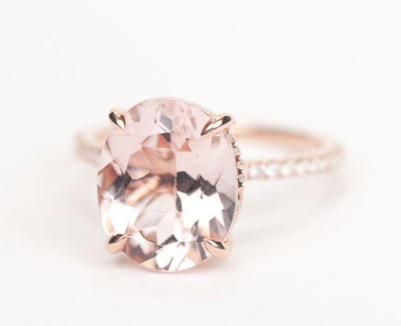 Huge Oval Morganite Diamond Ring K Rose Gold